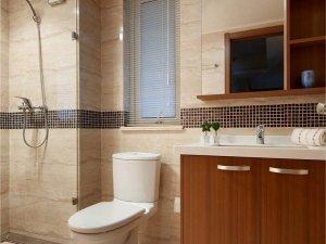新中式浴室装修效果图 实木浴室柜图片