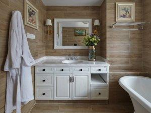 简约风浴室效果图 白色浴室柜图片