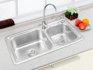 申鹭达卫浴图片 厨房不锈钢加厚双槽LD-TC99210M产品展示