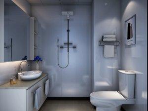 现代风卫生间装修效果图 灰色浴室柜图片