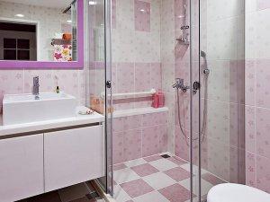 粉色卫生间效果图大全 整体淋浴房图片