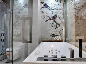 新中式风浴室效果图 白色智能马桶图片