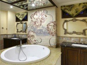 美式别墅卫生间效果图 豪华圆形浴缸图片大全