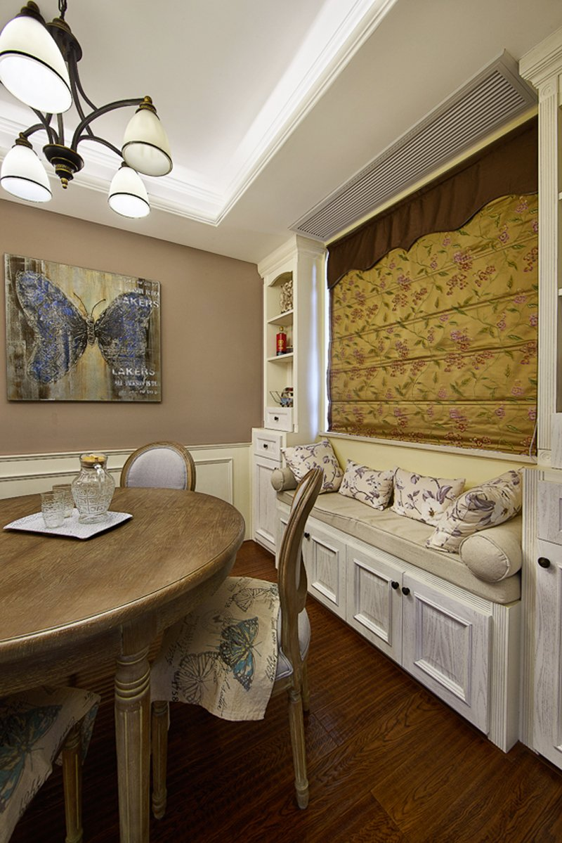 美式卫生间图片大全 蓝色实木浴室柜效果图