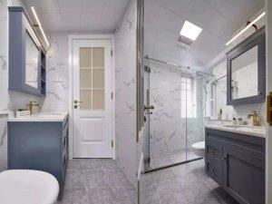 蓝色实木浴室柜图片 淋浴区玻璃隔断门效果图