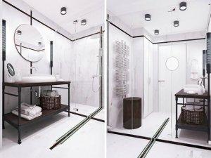 极简风卫生间效果图 整体玻璃淋浴房图片大全