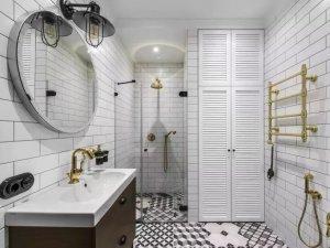北欧风浴室装修效果图 玻璃淋浴房图片