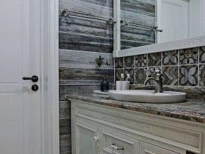 美式实木浴室柜图片 卫生间干湿分离效果图