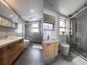日式自然风浴室效果图 整体玻璃淋浴房图片