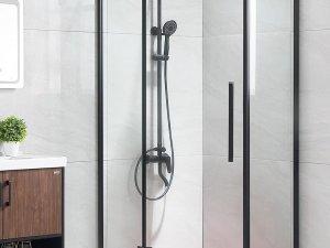 浪鲸卫浴效果图 哑黑色不锈钢淋浴房型号EK30