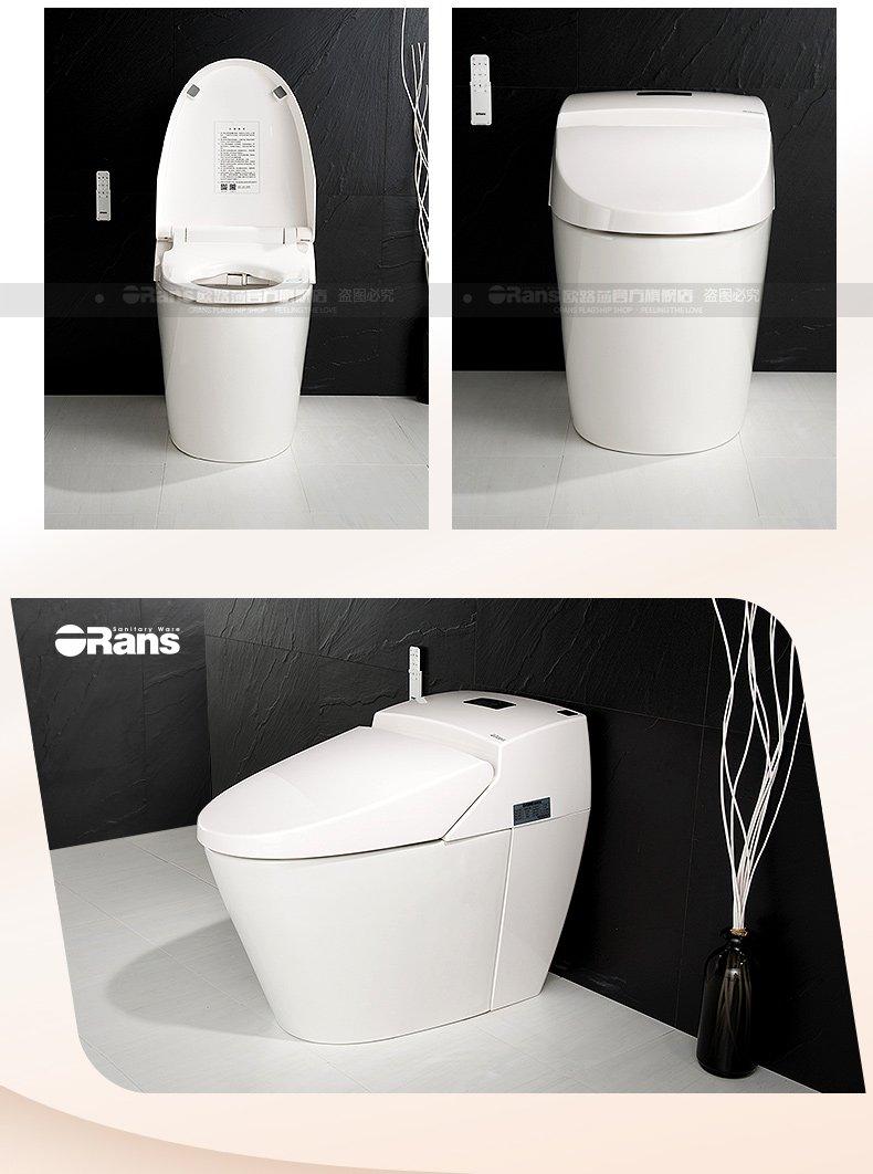 欧路莎卫浴 家用一体式全自动冲水烘干电动座圈加热感应坐便器效果图