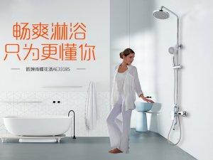 箭牌卫浴 淋浴花洒套装精铜水龙头挂墙式多功能淋浴雨蝶AE3318S效果图