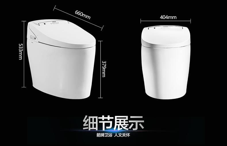 箭牌衛浴 一體智能馬桶無水箱即熱型自動烘干婦洗坐便器AKB1130效果圖