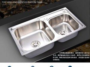 HHSN辉煌  手工水槽厨房不锈钢水池一体成型拉丝双槽洗菜盆洗碗池效果图