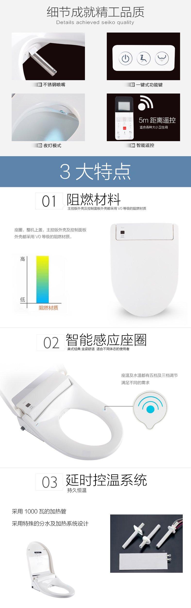 和成卫浴 智能马桶盖遥控储热式全自动冲洗器洁身器59001效果图