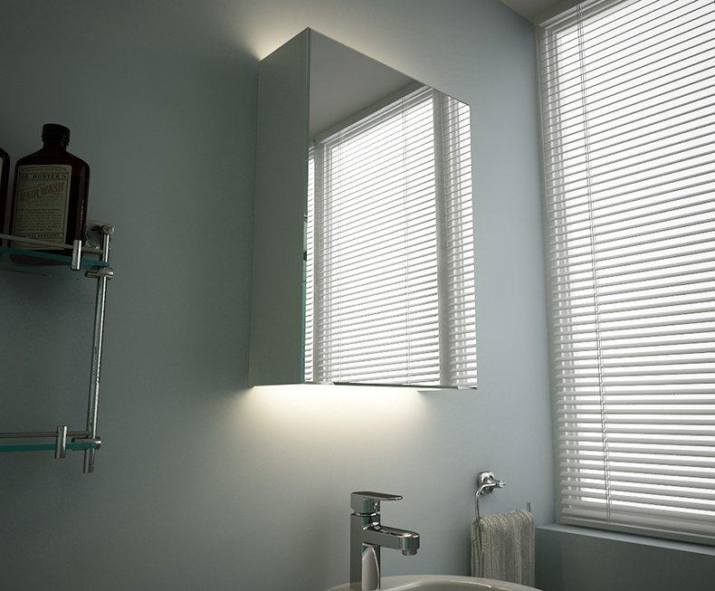 宏浪衛浴 歐式浴室鏡柜化妝柜衛浴柜浴室儲物柜橡木壁掛置物柜帶鏡燈效果圖