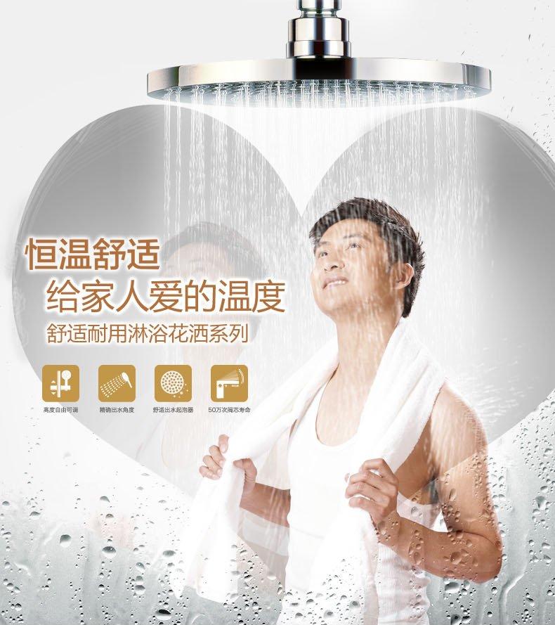 金牌衛浴 龍頭淋浴花灑噴頭套裝帶置物板淋浴花灑套裝RF13030效果圖