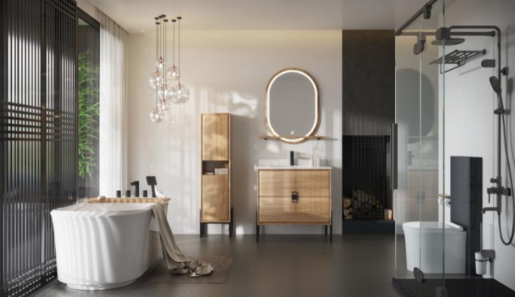 日丰卫浴 卫生间阁楼装修效果图是装移门还是开门?