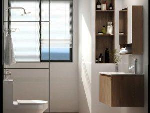 艺耐卫浴图片 现代简约风格浴室柜效果图