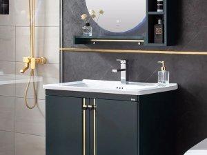 卡贝卫浴效果图 墨绿色浴室柜产品图片