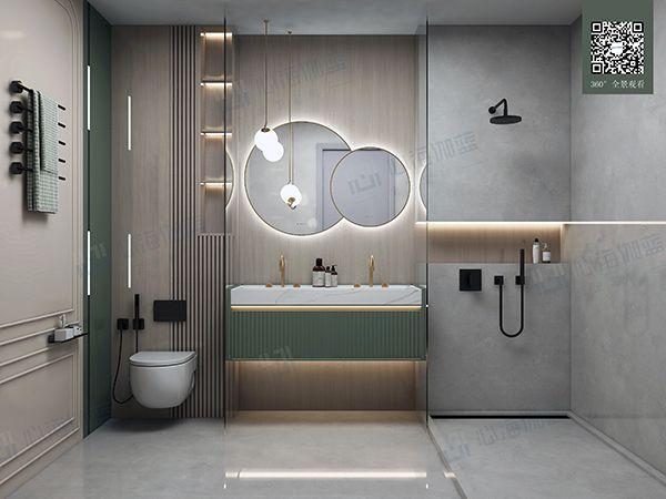 心海伽蓝卫浴效果图 石涧系列浴室柜产品图片_8