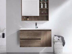 卡贝卫浴效果图 桉木浴室柜产品图片