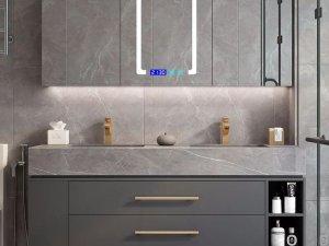 卡贝卫浴效果图 阿玛尼灰岩板浴室柜产品图片