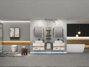 埃飞灵卫浴效果图 钣金浴室柜产品图片