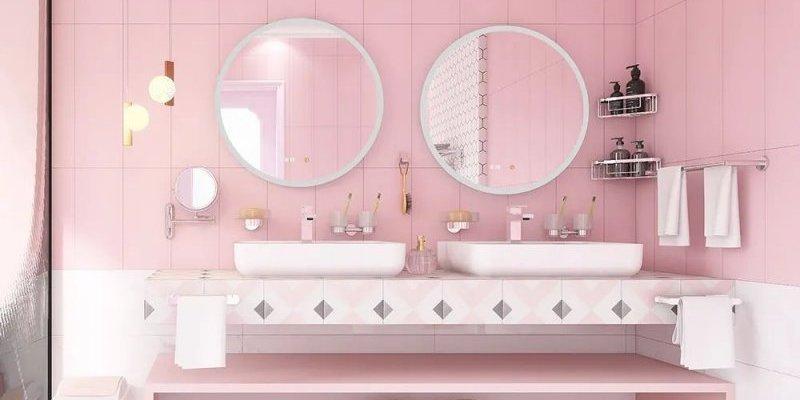 帝朗卫浴浴室设计图片 粉色浴室装修效果图