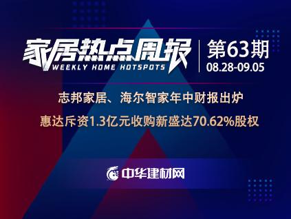 家居周资讯(第63期):九大上市企业发布年中财报  惠达斥资1.3亿元收购新盛达70.61%股权